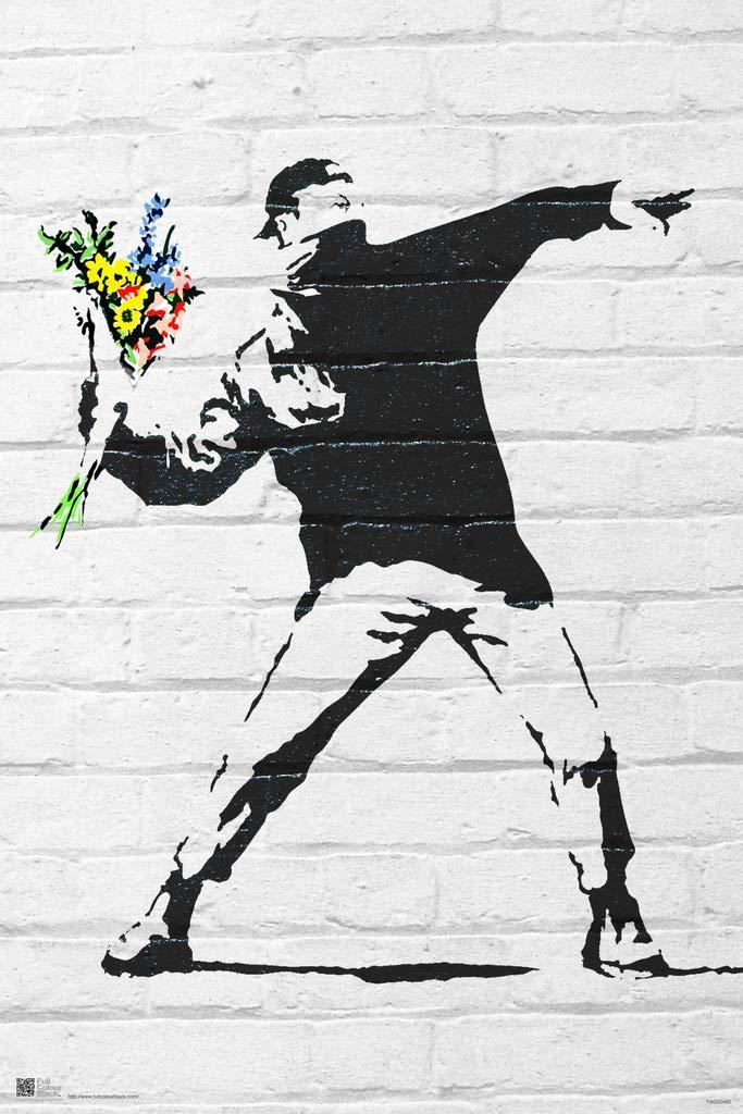 Pyramid America Banksy Flower Bomber Graffiti Art Framed Poster 14x20 inch