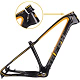 TRIFOX 27.5/29er Gold Carbon Fiber Mountain Bike Frame Carbon MTB Bicycle Frame 31.6mm Thru Axle Compatible