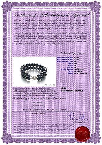PearlsOnly - Noir 8-9mm A-qualité perles d'eau douce -Bracelet de perles