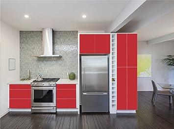 INDIGOS UG - Aufkleber für Küchenschränke 63x500cm - MATT - rot ...