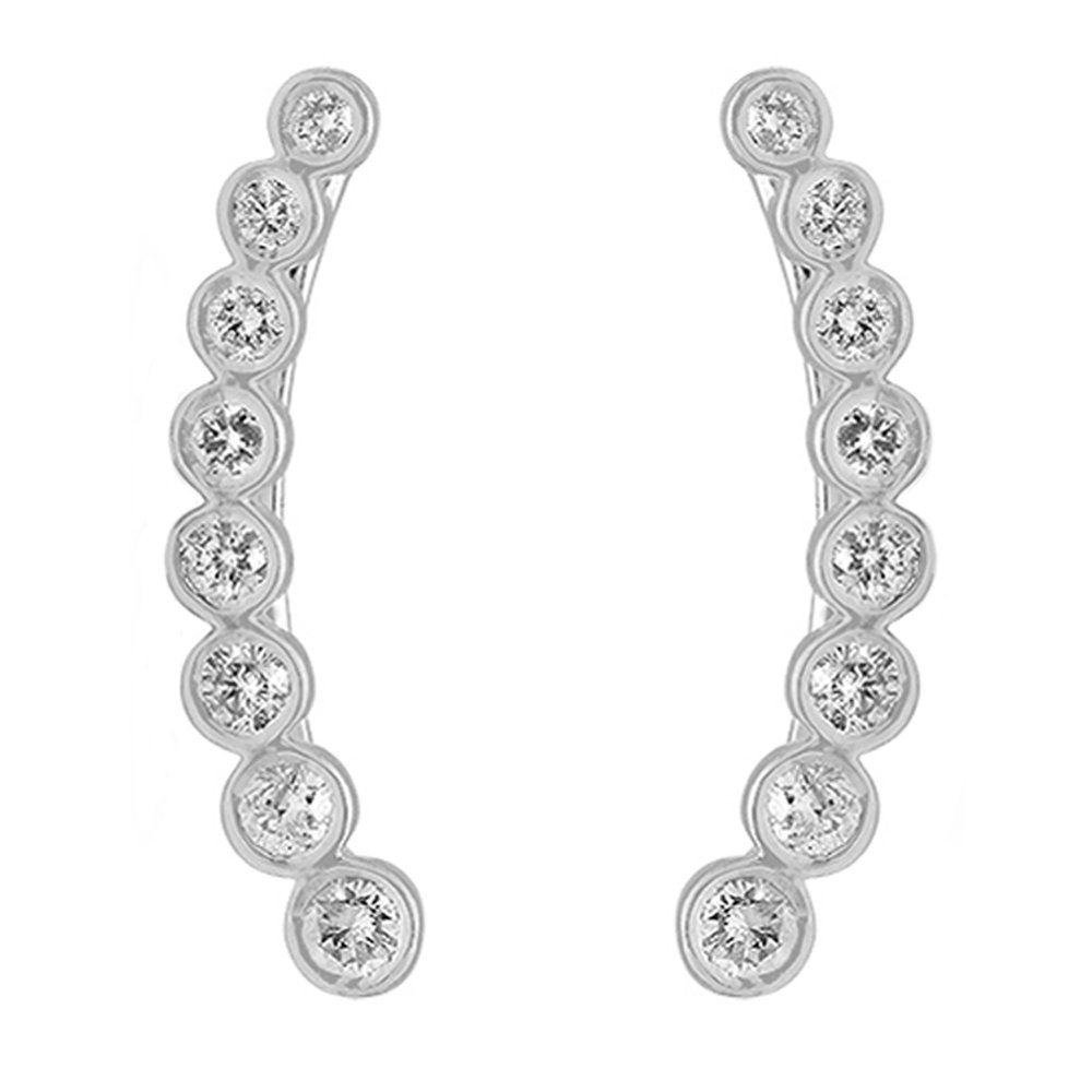 0.60 Carat (ctw) 14K White Gold Round Cut White Diamond Ladies Journey Curved Climber Earrings