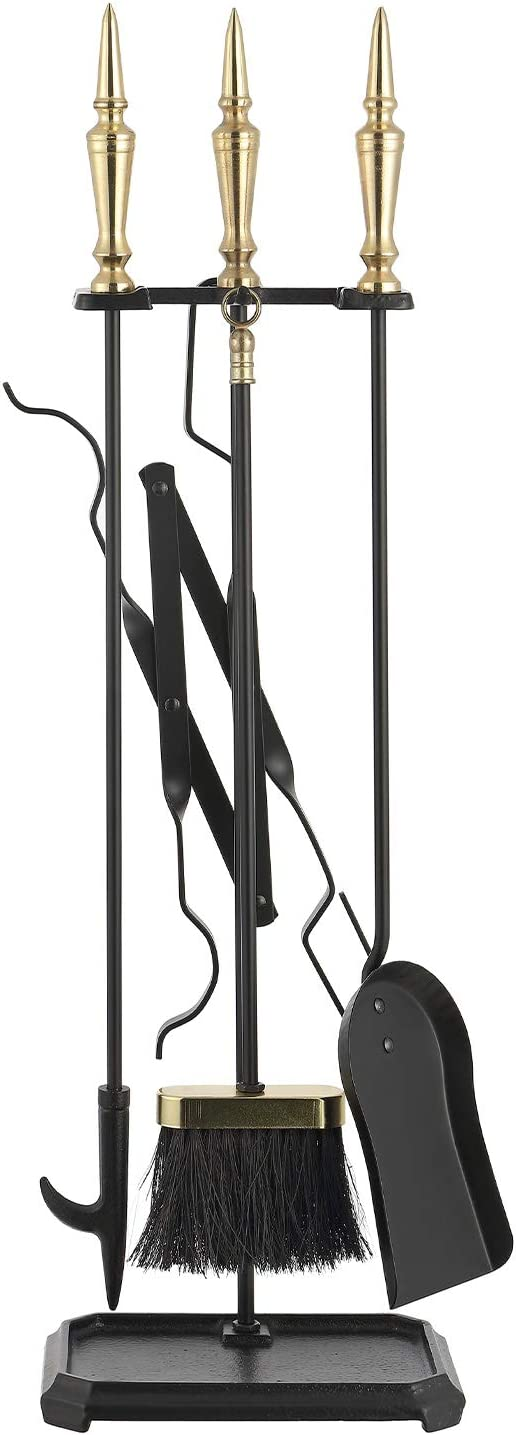 Mlian 5 Pieces Fireplace Tool Sets Wrought Iron Fire Place Pit Poker Holder Tongs with Handles Wood Stove Accessories Kit Black Cast Hearth Decor for Home