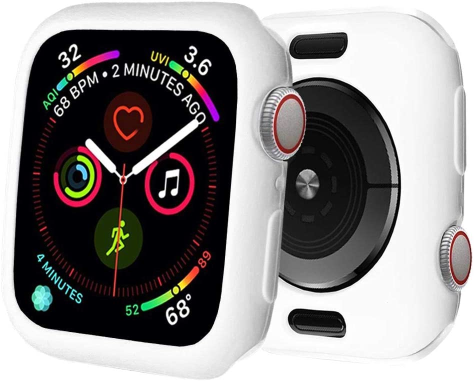 BOTOMALL for Apple Watch Case 44mm Series 6/5/4/SE Premium Soft Flexible TPU Thin Lightweight Protective Bumper Cover Protector for iWatch(White,44MM Series 4/5/6/SE)
