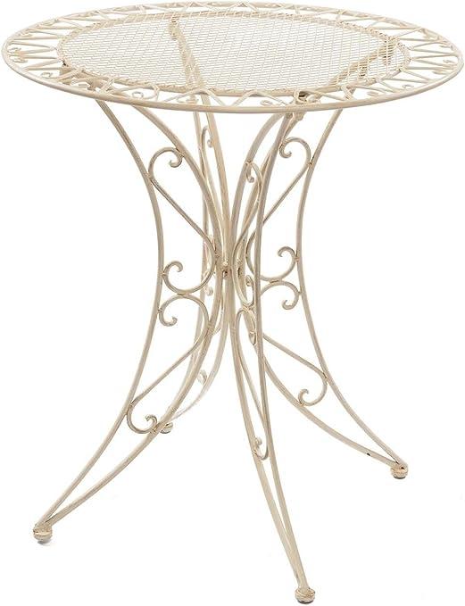 aubaho Table de Jardin - Fer forgé - Style Antique - crème ...