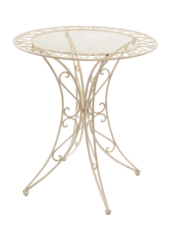 Aubaho Tisch Gartentisch Bistrotisch 79cm 79cm 79cm Eisen Garten Antik-Stil creme weiß 0e1d2d