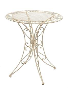 aubaho Table de jardin - fer forgé - style antique - crème/blanc ...
