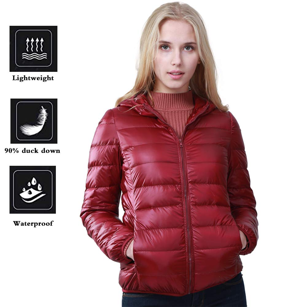 FCOZM Women Down Jacket, Packable Down Jacket Down Coats Women Outwear Parka Hood