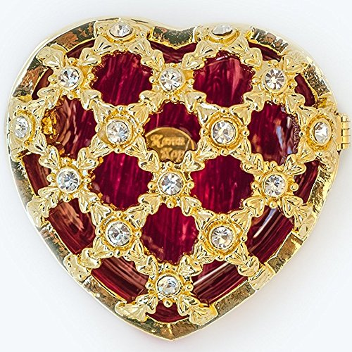 Keren Kopal Miniature Red and Gold Heart-Shaped Trinket Box with Carved Top and Clear Swarovski Crystals for Collectors, Decorators, or - Heart Carved Gold