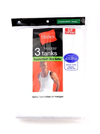 Hanes Mens 3 Pack Comfort Tagless Athletic Tanks-White-S