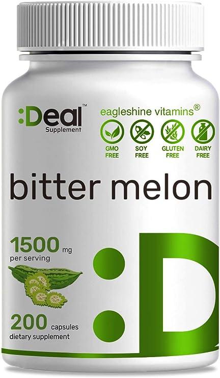 Eagleshine Vitamins Bitter Melon 1500mg, 200 Capsules, Wild Bitter Melon Fruit Extract, Support Balanced Blood Sugar & Blood Pressure Level - Bitter Melon Supplement