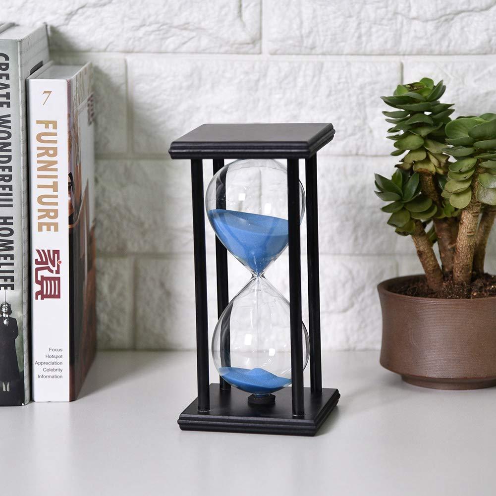supporto blu sabbia nera Tempo di sabbia a clessidra di 30 minuti timer in vetro di legno regalo per studente per bambini,