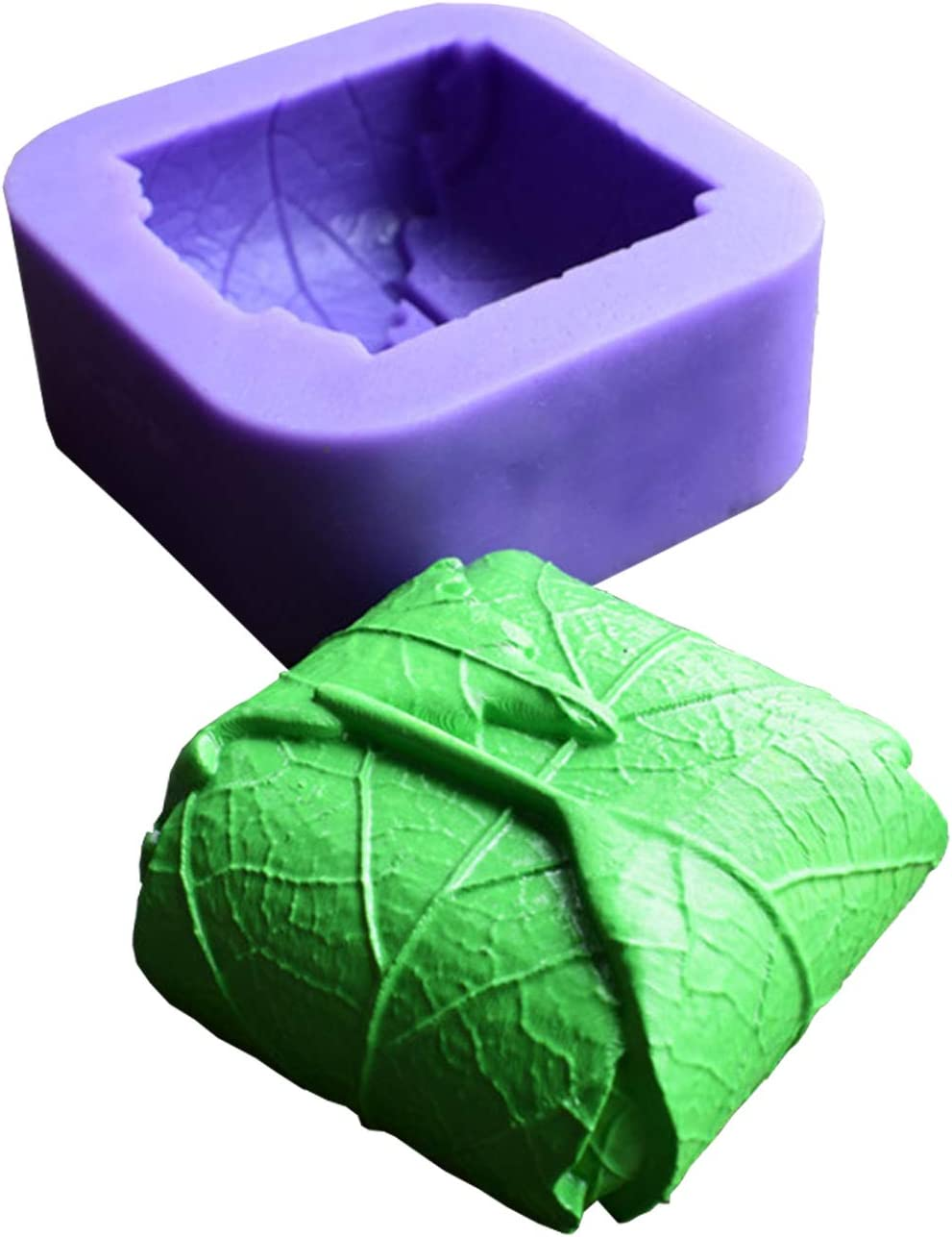 Leaves Silicone Candle Molds Cuboid with Leaves Soap Molds,Runloo Chocolate Cake Baking Moulds Fondant Cake Leaves Molds (Square Leaves)
