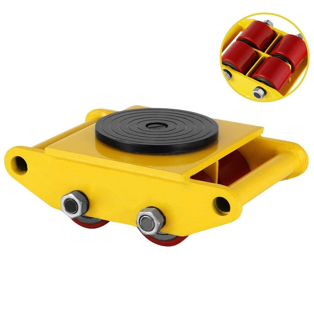 Machinery Mover,360 Degree Rotation Cap 6 Ton Capacity Industrial Dolly Machinery Skate Mover Roller Dolly with 4 Polyurethane wheels (Yellow)