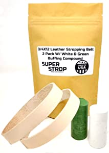 3/4X12 Inch 2 Pack Leather Honing Polishing Belt Super Strop With White and Green Compound Fits Ken Onion Work Sharp