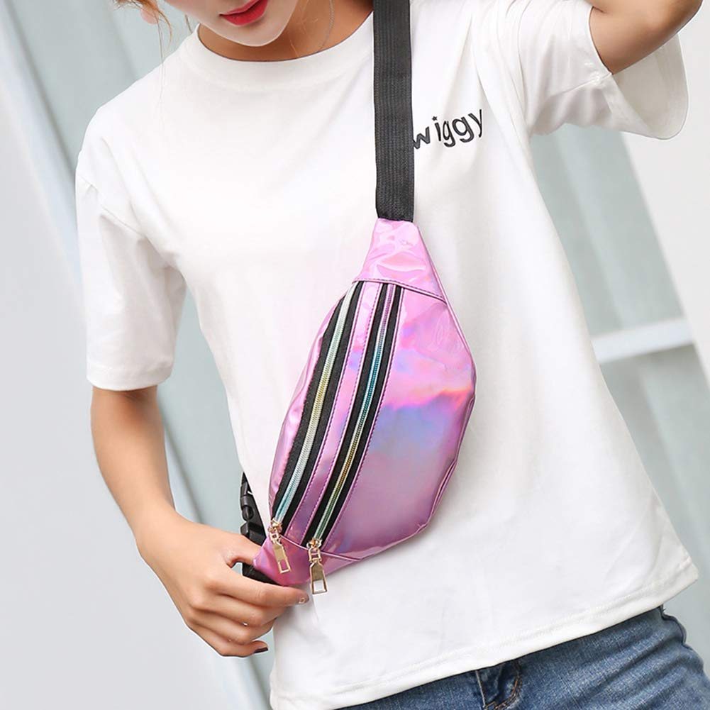 RARITY-US Waterproof Holographic Waist Pack Chest Bag Crossbody Fanny Pack Sport Bum Bag for Men Women