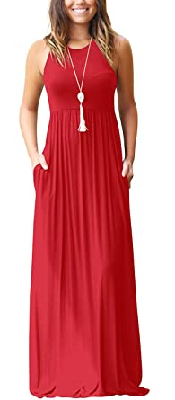 Review GRECERELLE Women's Sleeveless Racerback Loose Plain Maxi Dresses Casual Long Dresses with Pockets