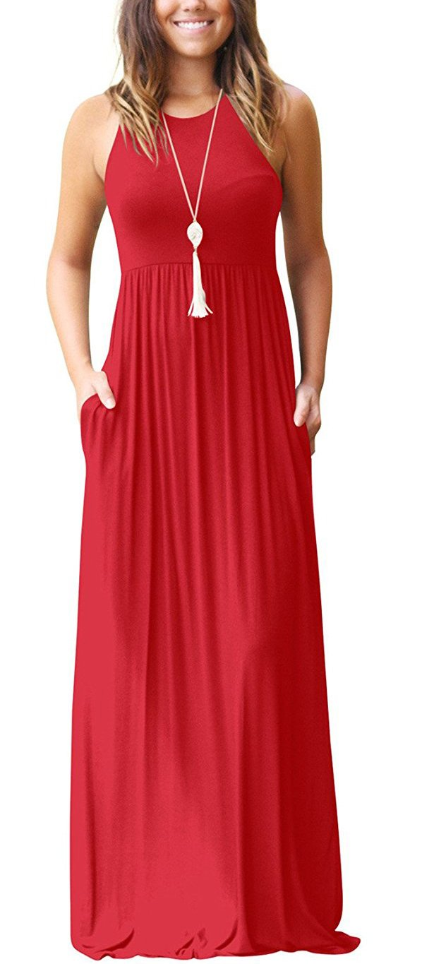 513a5fedec2d Galleon - GRECERELLE Women's Sleeveless Racerback And Long Sleeve Loose  Plain Maxi Dresses Casual Long Dresses With Pockets Red-XS
