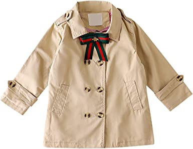 Tortor 1Bacha Kid Girls Double Breasted Long Jacket Trench Coat with Bowtie