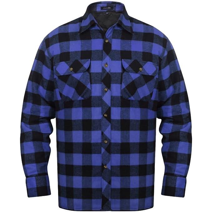 2222894a78 vidaXL Camisa Acolchada de Franela tartán a Cuadros Azul-Negro para Hombre  Talla XXL  Amazon.es  Ropa y accesorios
