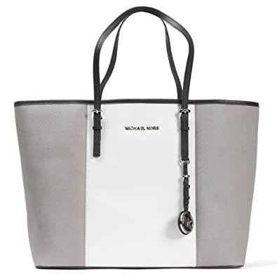68423e1b21b249 Michael Kors Medium Jet Set Center Stripe Travel Tote in Pearl Grey White  Black: Amazon.co.uk: Shoes & Bags