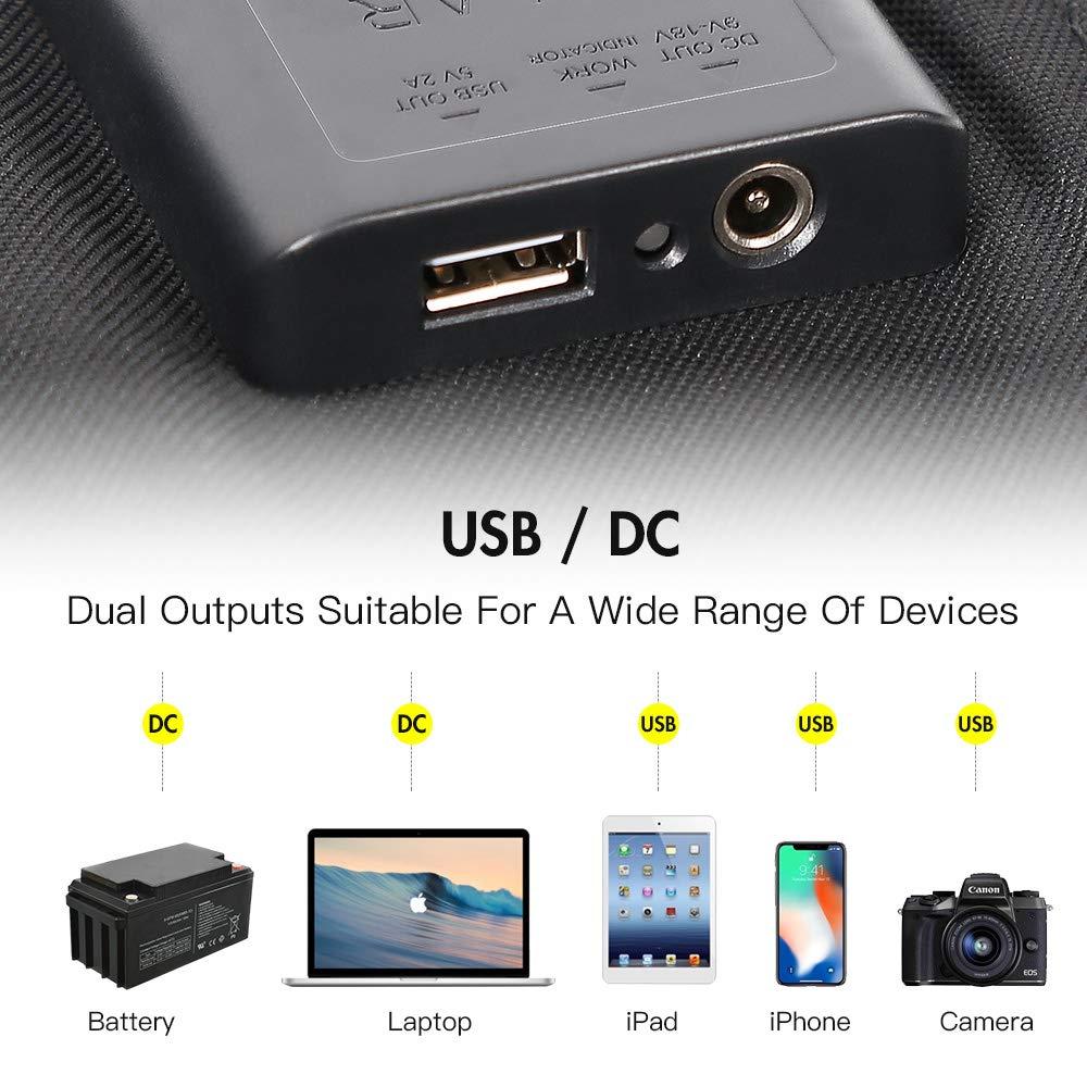 Portatile e Pieghevole SUNKINGDOM con Doppia Uscita per Il Campeggio DC5521 18V e USB 5V Caricatore con Pannello Solare 60W