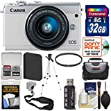 Canon EOS M100 Wi-Fi Digital ILC Camera & EF-M 15-45mm is STM Lens (White) 32GB Card + Case + Battery + Tripod + Kit