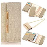 Sammid Samsung S8 Wallet Case 5.8 inch, Fashion PU Leather Magnet Wallet Cover with Built-in Credit Card Slots for Samsung Galaxy S8 - Gold