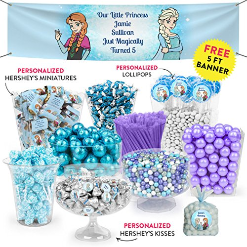 Kids Birthday Frozen Themed Candy Buffet (Approx 15lbs) - Includes Hershey's Kisses and Miniatures, Gumballs, Frooties, Dum Dums Lollipops and More! ()