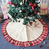 Faylapa Christmas Tree Skirts,Plaid Red Ruffle Edge,48inch Burlap Tree Skirts Mat Christmas Decoration