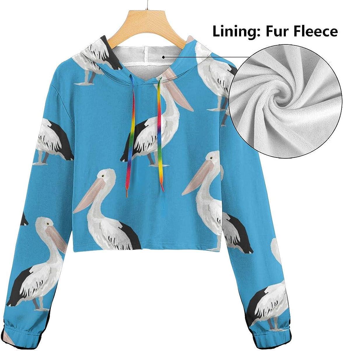 Womens Hoodie Sweater Pelican Pattern Crop Top Sweatshirt Lumbar Sweatshirt Cropped Hoodie
