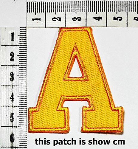 - Yellow letter A patch logo Sew On Patch Clothes Bag T-Shirt Jeans Biker Badge Applique