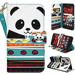 ZTE Grand X4 Case, ZTE Grand X 4 Case, Customerfirst - Wallet Flip Case Pouch Cover Fold Stand case Premium Leather Wallet Flip Case + emoji keychain (Panda)