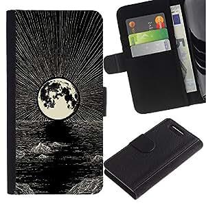 Be-Star la tarjeta de Crédito Slots PU Funda de cuero Monedero caso cubierta de piel Para Sony Xperia Z1 Compact D5503 ( Moon Pencil Drawing Ink Night Sea )