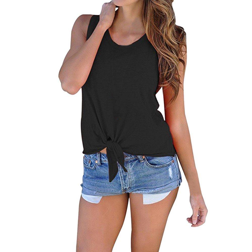 Hot Tank Tops,Women's Summer O Neck Sleeveless Shirt Blouse Front Tie Knot Cami T Shirt Tops Black