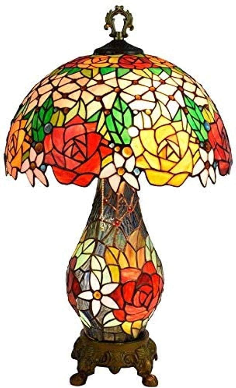 MARUA Lámpara De Mesa Pastoral Lámpara De Mesa Tiffany Lámpara De Mesa Vidrio Lámpara Doble Cabeza Color Certificación Barroco De CE