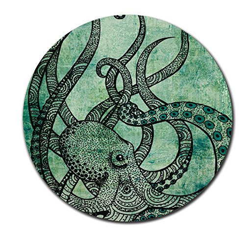 Gorgeous Cool Octopus Color Printed Mouse pad Round Vintage MousePad