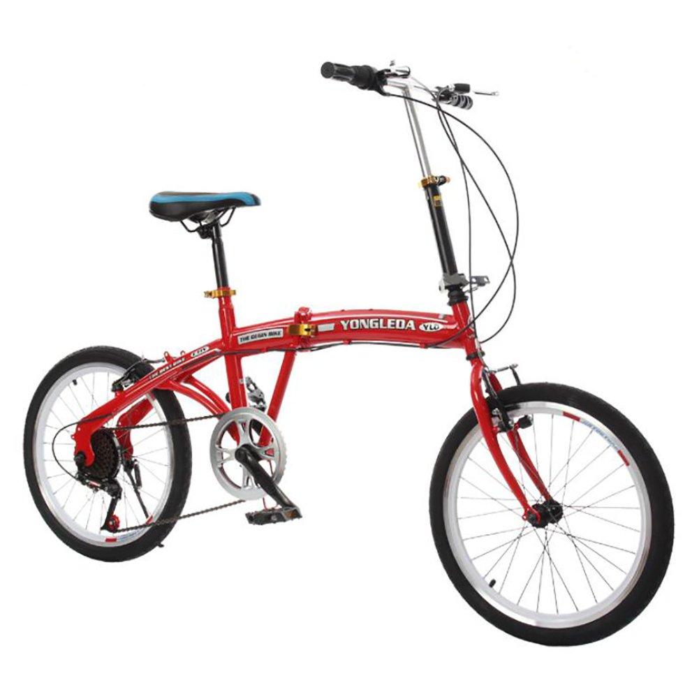 学生折りたたみ自転車, 子供用折りたたみ自転車 折りたたみ車 シマノ 6 速 男女 大人 折りたたみ自転車 折りたたみ自転車 B07DK8K412 20inch|赤 赤 20inch