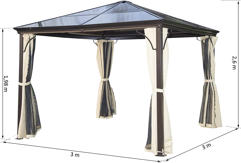 Outsunny Carpa Cenador para Jardín Gazebo Exterior para Evento Estable Anti-UV Techo Policarbonato 4 Paravientos Mosquitera Integrada Aleación de ...