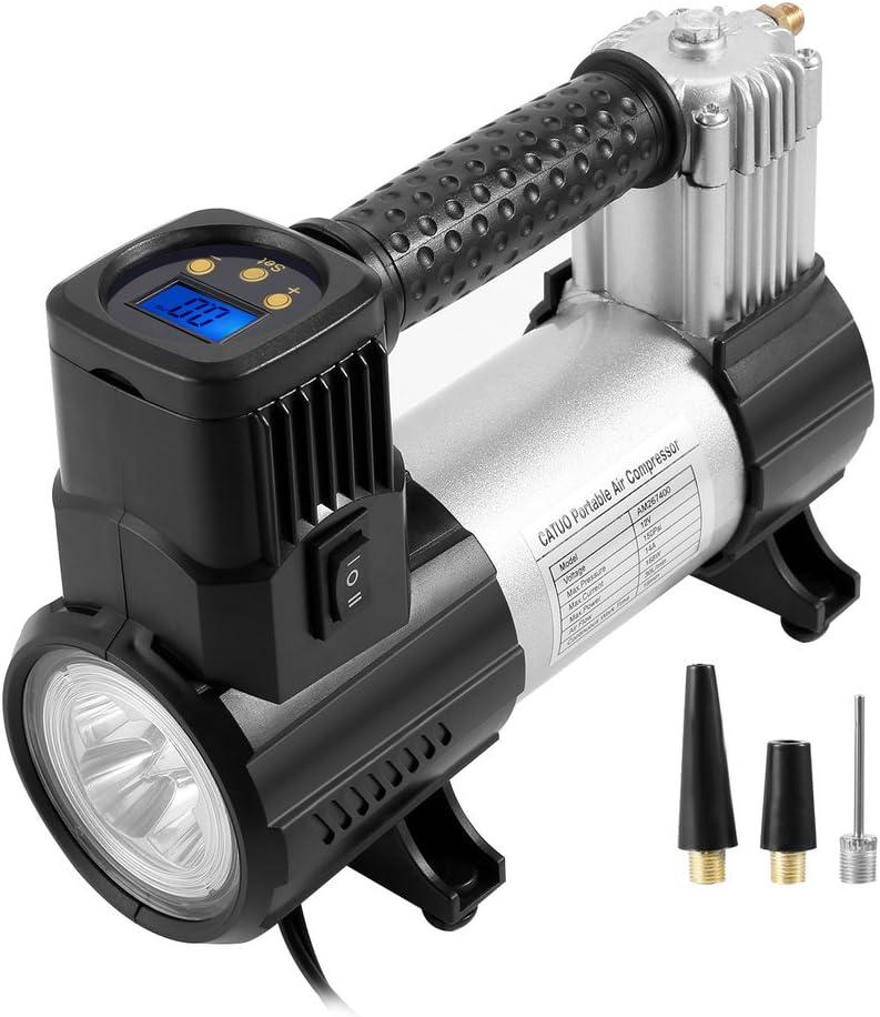 30 l//min einfach zu bedienen und praktisch Catuo 12/V 150PSI digital Luftkompressor digitale Reifenpumpe mit LED