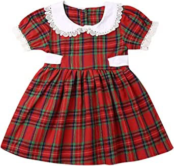 Newborn Toddler Baby Girl Christmas Outfit Sister Matching Lace Short Sleeve Peter Pan Collar Romper Dress Clothing