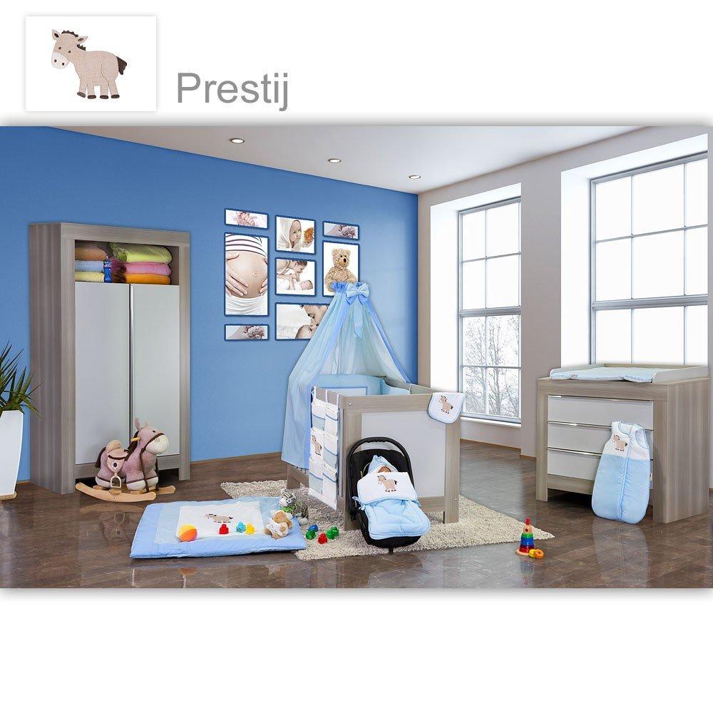 Babyzimmer Felix in akaziengrau 10 tlg. mit 2 türigem Kl. in Prestij blau