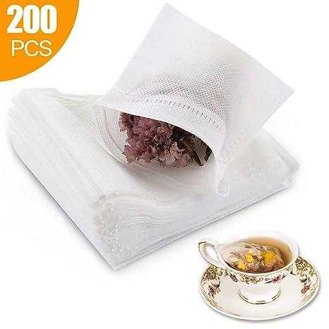 Amazon.com: 200 bolsas de filtro de té desechables vacías de ...