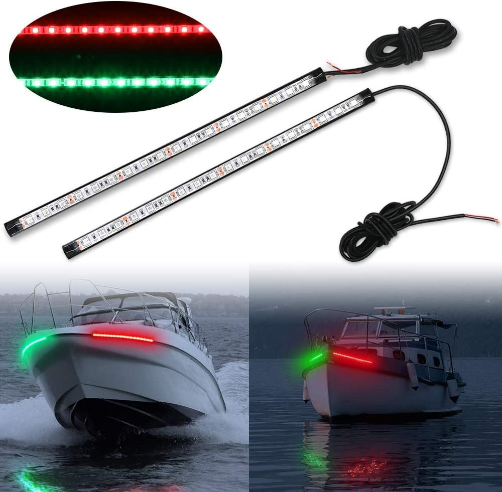 Obcursco 12 Inch LED Boat Bow Navigation Light Kits for Marine Boat Vessel Pontoon Yacht Skeeter - 1 Pair
