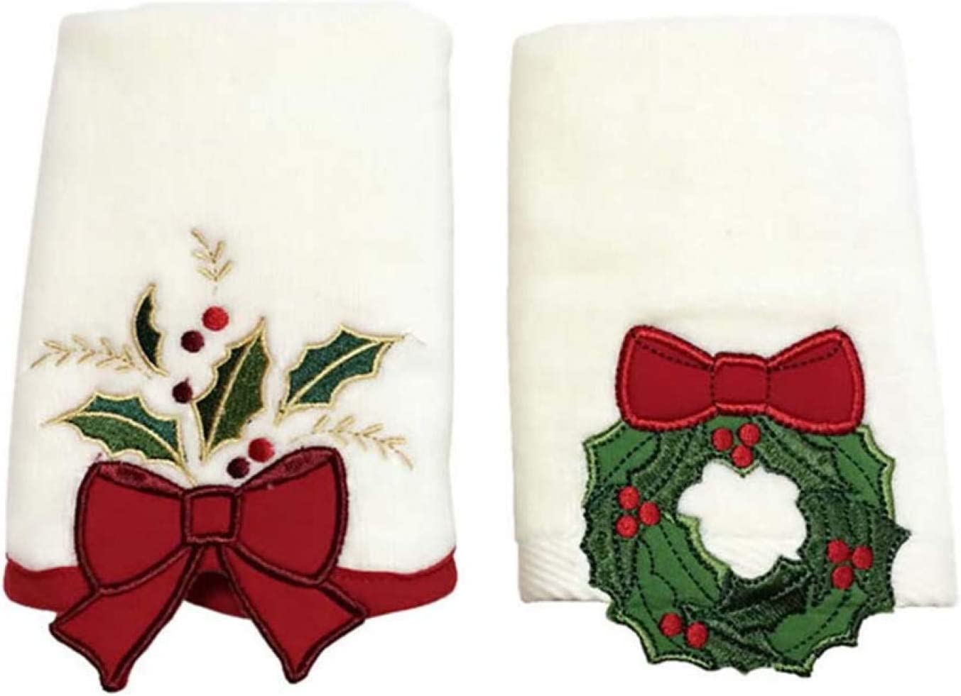 CALIDAKA 2 Pcs/3 Pcs Kids Christmas Hand Towels, Cotton Bathroom Washcloths, Wash Basin Towels Christmas Face Towel Decor, Christmas Towels Gift Set, 14.96 x 23.62 Inch