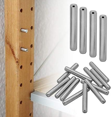 Soporte de Estante Para Ikea Ivar Muebles Alfileres Clavijas Soporte Metal Set Kit Galvanizado 4-48 Piezas Ø 6mm, piezas:12 piezas