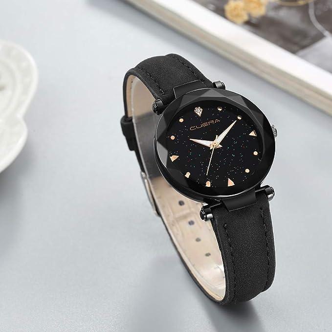 BBestseller Reloj de Pulsera Elegante para Mujer CUENA Relojes de Cuarzo con Correa de Cuero de Segunda Mano para Mujer (Negro 3): Amazon.es: Relojes