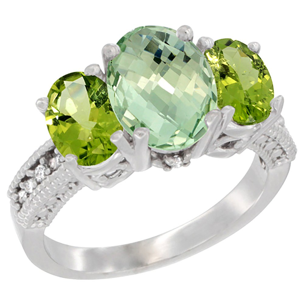 10K White Gold Diamond Natural Green Amethyst Ring 3-Stone Oval 8x6mm with Peridot, size 9
