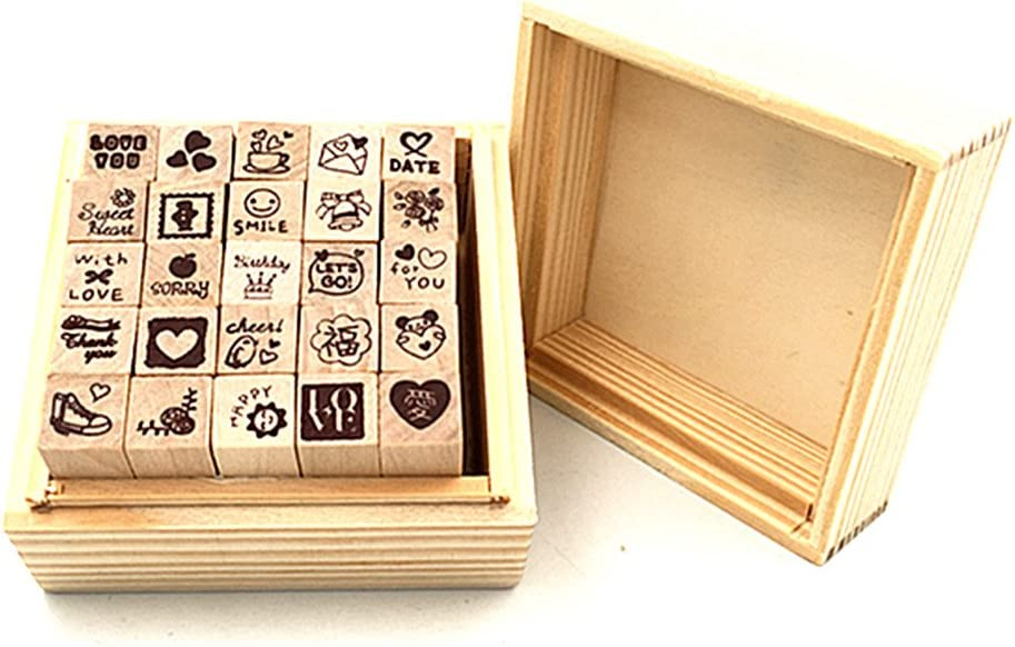 Diary Stamp Set,Wooden Rubber Signet for Children DIY Scrapbooking Planner Card Making(25pcs,Love Heart)