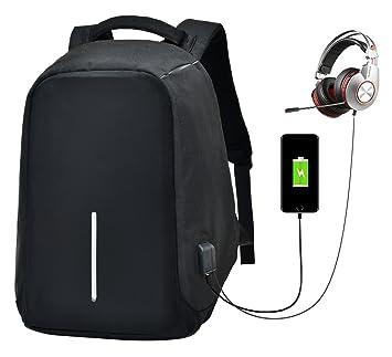 b2a834e767 PC Tablette Ordinateur Voyage Sac à Dos avec USB Chargement Headphone Port  Antivol Dos pour Homme