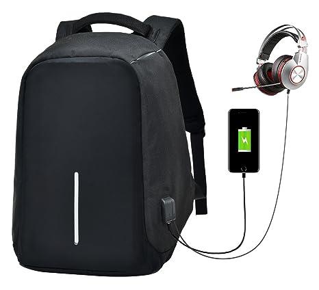 Portatil De Mochila USB Orificio del Cable De Auriculares Ordenador PC para Viaje Escuela Negocios Trabajo